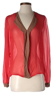 Sam & Lavi Sheer Color-blocking Top Red
