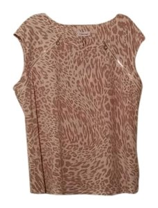 Calvin Klein Metallic Hardware Top White and taupe animal print