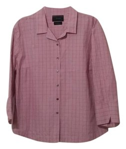 Faonnable 3/4 Length Sleeve Button Down Button Down Shirt Pink plaid