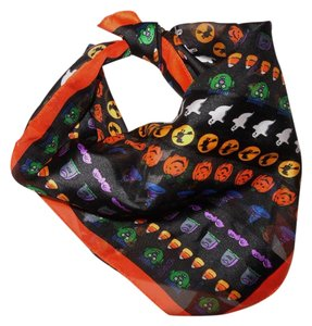 Halloween Sheer Printed Ghosts Witches Striped Square Scarf