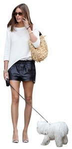 Rebecca Minkoff Lambskin Leather Track Drawstring Dress Shorts Black