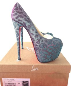 Christian Louboutin High Highness 160mm Lame Turquoise/ Leopard Pumps