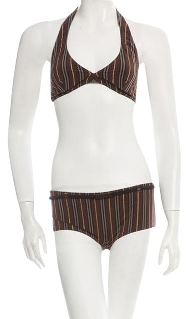 Item - Multi-color Brown Black and Gold Striped Swimsuit with Halter Top Bikini Set Size 4 (S)