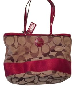 Coach Tote in Brown/red