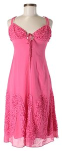 BCBGMAXAZRIA short dress Pink Silk Ruffle on Tradesy