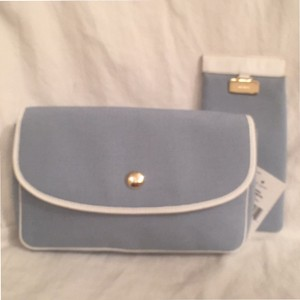 Kate Spade New Eye Glass Case Both Canvas W/White Leather Trim