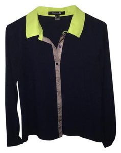 Forever 21 Colorful Top Navy Blue, Lime Green, Gray