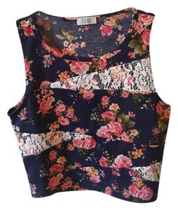 Tobi Crop Floral Lace Top Multi-Colored