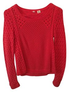 Anthropologie Cable Knit Red Orange Sweater