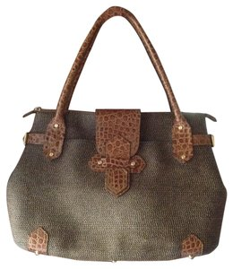 Eric Javits Croc Woven Tote in Natural and brown