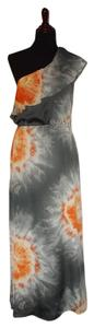 Gray/Orange/White Maxi Dress by Lovely Day One Maxi Floor Length Lined
