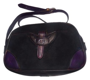 Gucci Bowling Look Re-dyed Body Front Pocket One Of A Kind Early Style Satchel in navy/black suede/purple leather