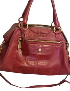 Prada Leather Satchel in Red