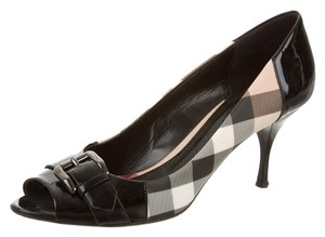 Burberry Nova Check Plaid Monogram Beige, Black Pumps