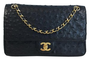 Chanel Classic Ostrich Double Flap Shoulder Bag