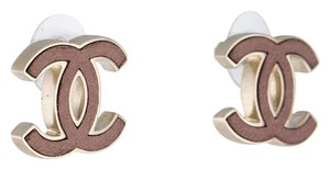Chanel Gold-tone Chanel tan leather interlocking CC logo stud earrings