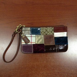 Coach Leather Suede Patchwork Wristlet
