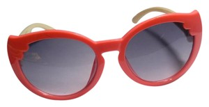 New Pink & Beige With Red Bow At Side Anti UV Small Sunglasses J2819