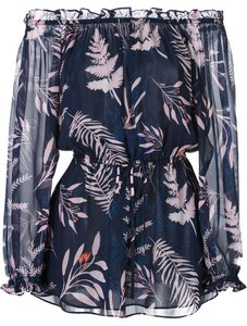 Diane von Furstenberg Top Snake Leaves New Indigo