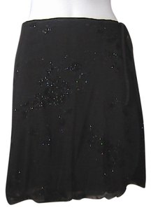 Limited Too Mini Black Floral Glitter Mini Skirt Floral Black