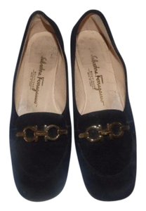 Salvatore Ferragamo Comfy Classic Dressy Or Casual Gold Trim Loafer Style Gold Gancini Accent black suede Flats