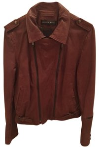 Andrew Marc Leather Designer Cognac Leather Jacket