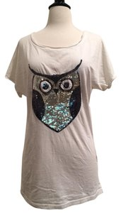 Pol Owl Sequin T Shirt White