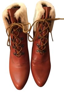 Ellen Tracy Faux Leather Faux Fur Tan Boots