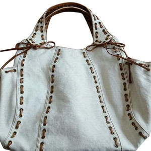 Kooba Canvas Tote in cream and brown