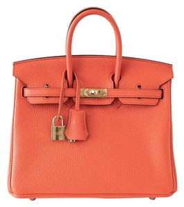 Hermès Birkin 25 Orange Leather Gold Hardware Tote in Orange Poppy