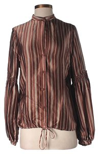 BCBGMAXAZRIA Silk Striped Top Copper