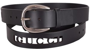Gucci Gucci Men's 268228 Black Leather Perforated Logo Belt 36 90