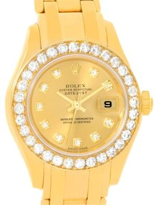 Rolex Rolex Pearlmaster 18K Yellow Gold Diamond Watch 80298 Box Papers