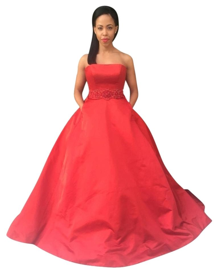 Red Satin Strapless Ball Gown Long Formal Dress Size 2 (XS) - Tradesy