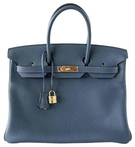 Herms Tote in Blue Colvert