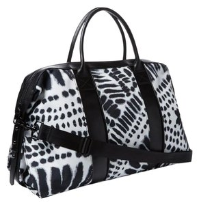 L.A.M.B. Leather Canvas Black White Tie Dye Travel Bag
