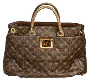 Louis Vuitton Lv Monorgram Canvas Leather Gm Penny Lane Tote in Brown