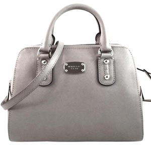 Michael Kors Saffiano Leather Satchel in Pearl Grey