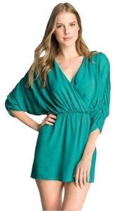 Parker Silk Dolman Sleeve Ruching Drape Cocktail Draped Bohemian Chiffon Party Turquoise Flowy Dress