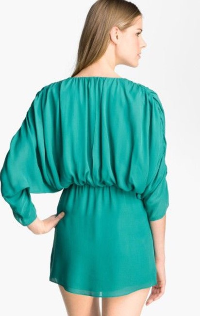 Parker Silk Dolman Sleeve Ruching Drape Draped Bohemian Chiffon Party Turquoise Flowy Dress Image 1