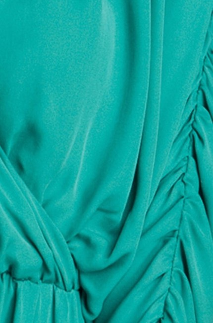 Parker Silk Dolman Sleeve Ruching Drape Draped Bohemian Chiffon Party Turquoise Flowy Dress Image 2
