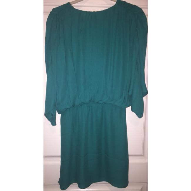 Parker Silk Dolman Sleeve Ruching Drape Draped Bohemian Chiffon Party Turquoise Flowy Dress Image 4
