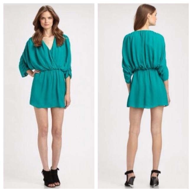 Parker Silk Dolman Sleeve Ruching Drape Draped Bohemian Chiffon Party Turquoise Flowy Dress Image 6