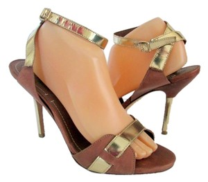 Elizabeth and James Stiletto Strappy Ankle Strap Leather Patent Leather Gold Sandals