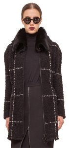 Akris Punto Wool Shearling Designer Windowpane Eskandar Fur Coat