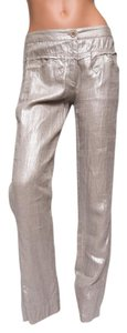 Avenue Montaigne Champagne Linen Straight Pants Beige