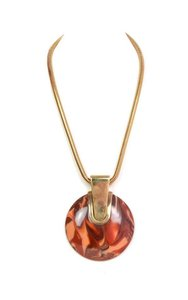 Lanvin Lanvin Brown Marbleized Resin Pendant Necklace