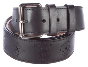 Louis Vuitton Black LV logo perforated Louis Vuitton belt