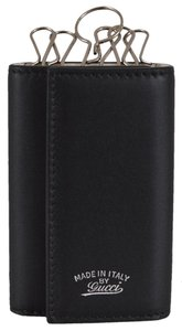Gucci Gucci Men's 368376 Black Leather Trademark Logo 6 Ring Key Mini Wallet