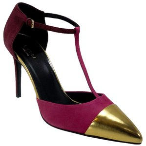 Gucci 353720 Cap Toe Leather Pink, gold Pumps